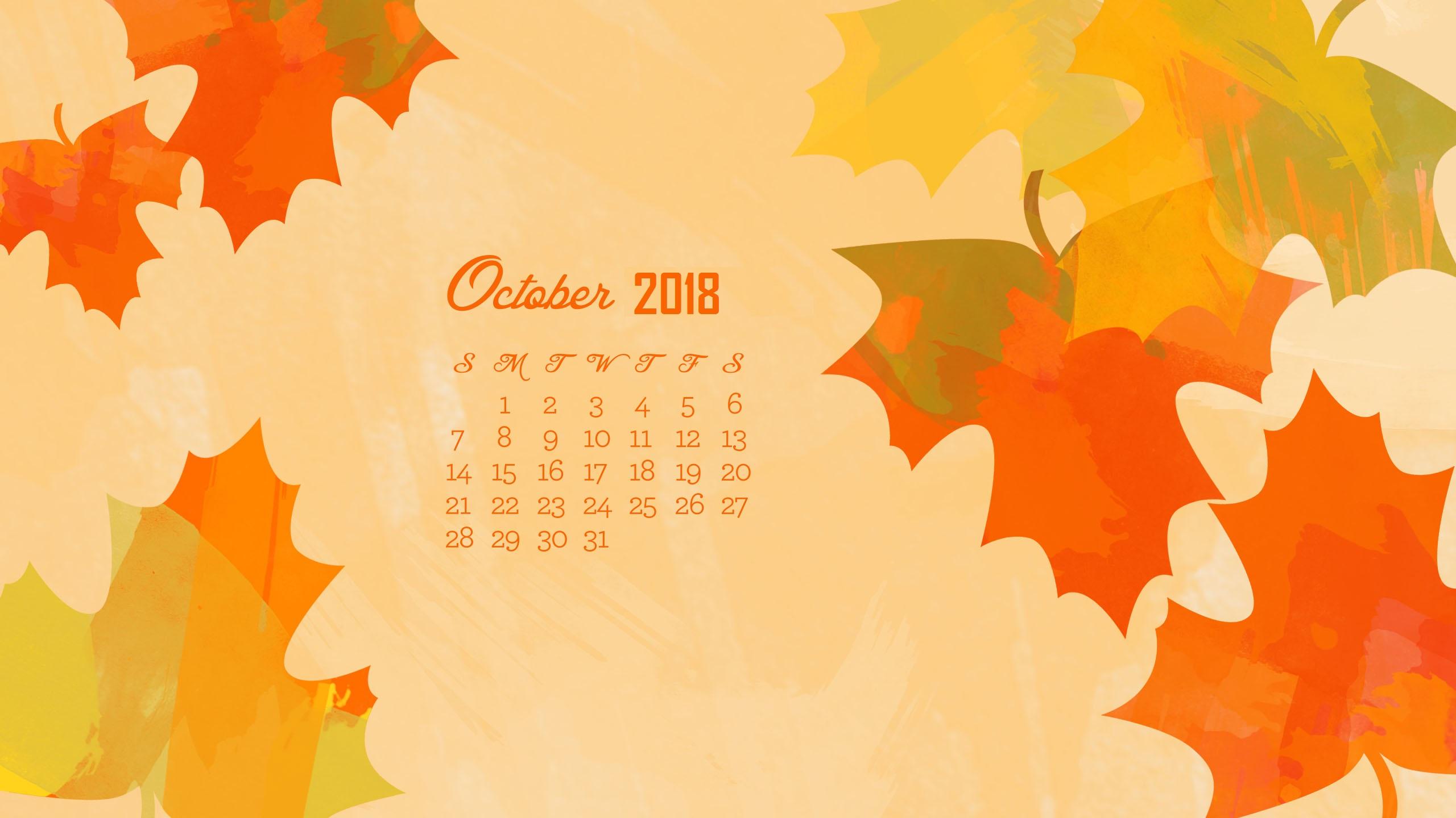 October 2018 Desktop Calendar Wallpaper