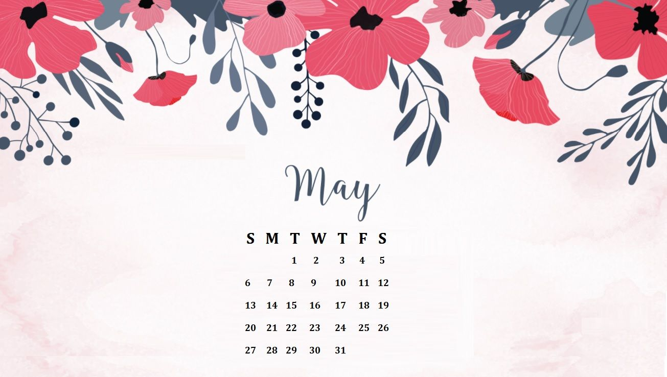 May 2018 Floral Calendar Wallpaper backgrounds Calendar 1305x738