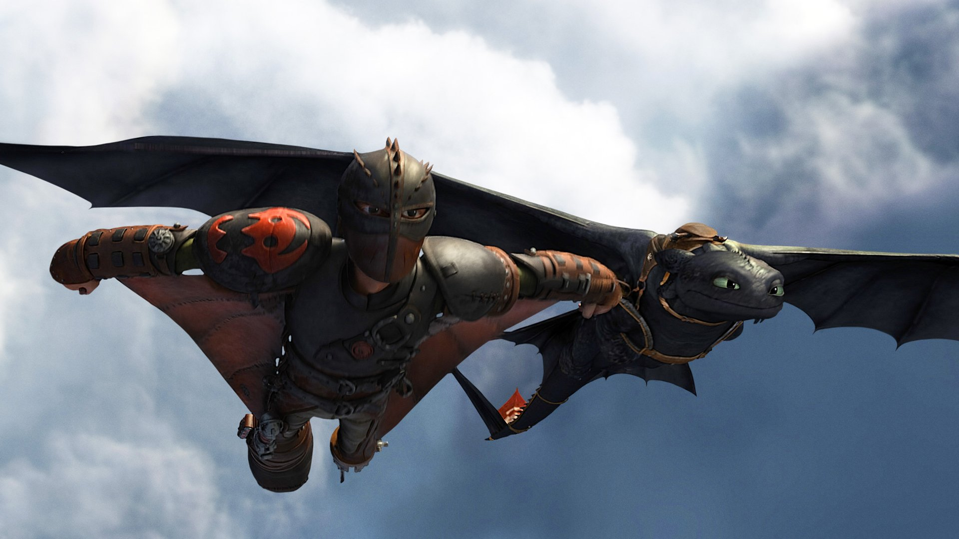 hiccup and toothless night fury flying in how to train your dragon 2 1920x1080