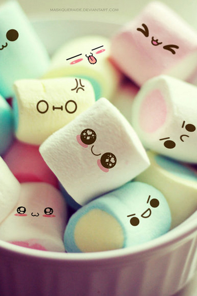 Funny Cute Mallows Iphone 4 Wallpapers 640x960 Mobile Phone Graphics