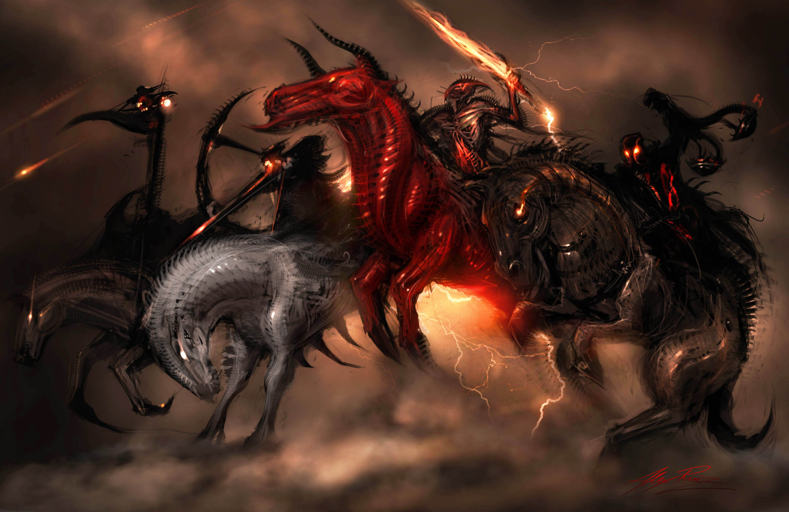 Horsemen of the Apocalypse dark horror religion fantasy art horse 3200x2076