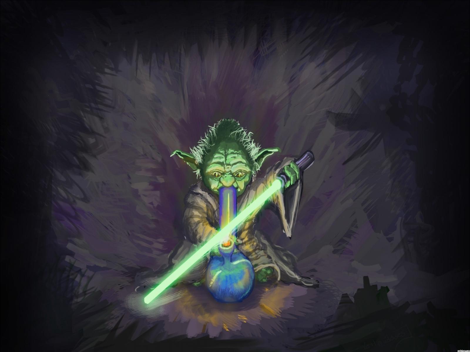 Marijuana weed 420 star wars humor y wallpaper 1600x1200 1600x1200
