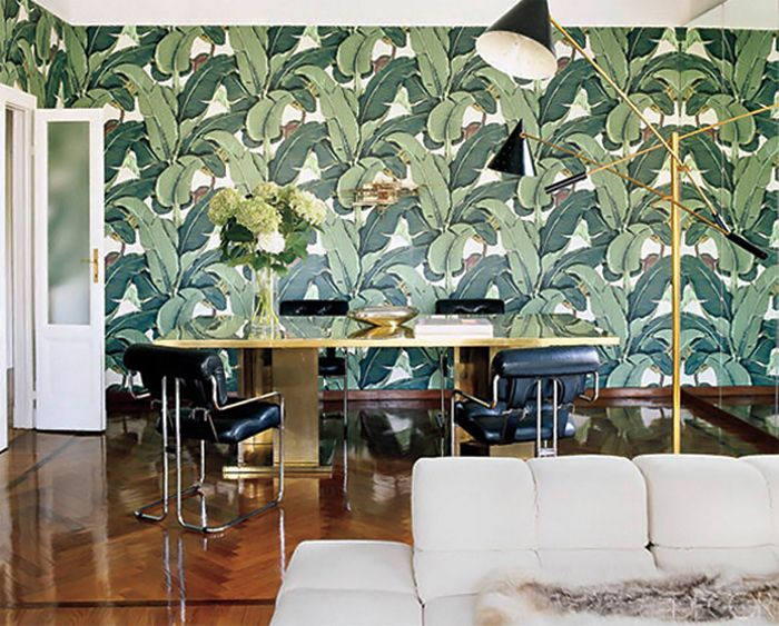 Beverly Hills banana leaf wallpaper Peach green grey Pinterest 700x563