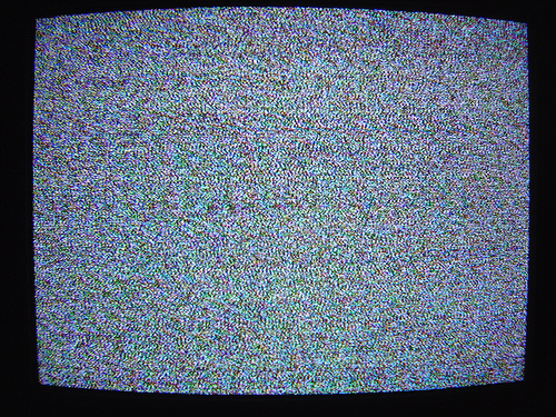 TV static photo of a Sony Trinitron TV CRT by Arnold Chao 500x375