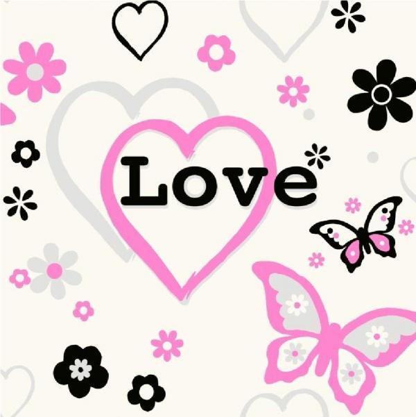 HEARTS FLOWERS BUTTERFLY CHILDREN KIDS GIRLS BEDROOM PINK WALLPAPER 600x601