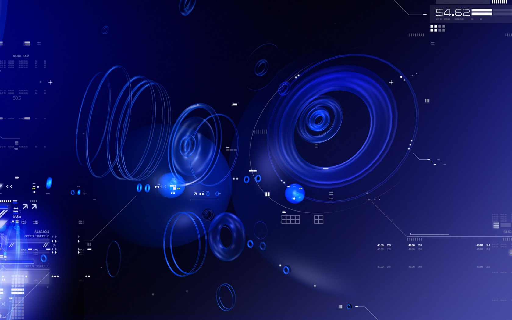 Blue Tech Circles Wallpapers HD 1680x1050