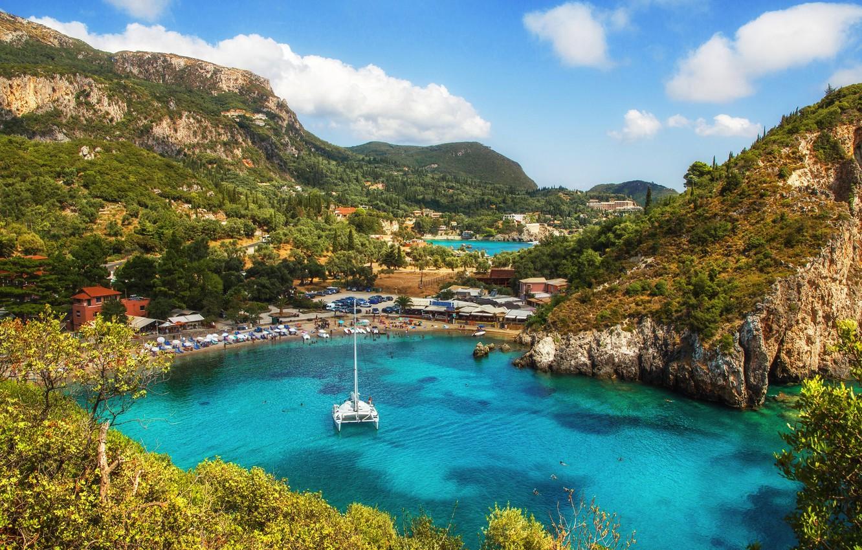 Wallpaper mountains rocks Bay yacht Greece Corfu 1332x850