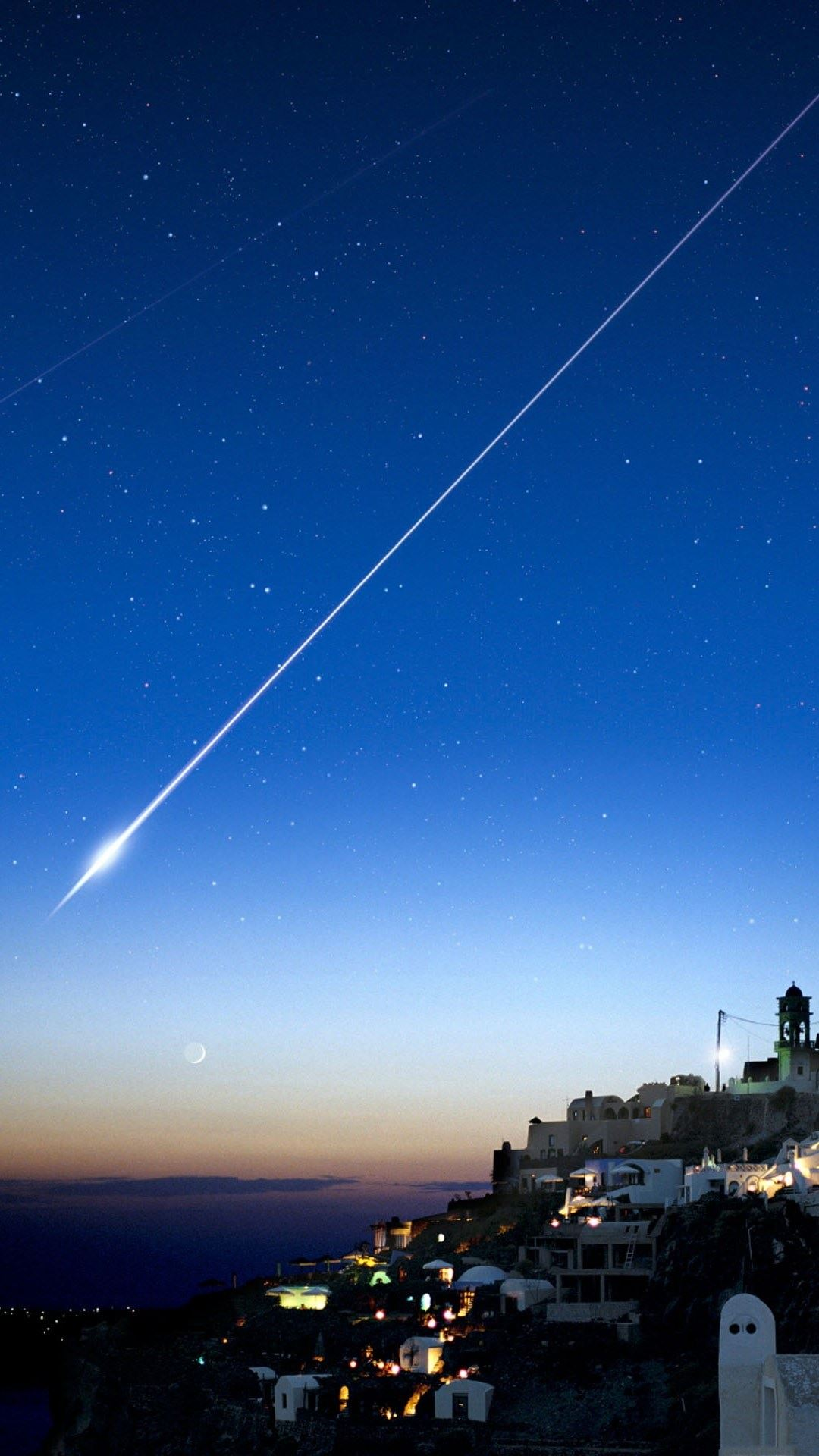 Shooting Star Over Cliff City iPhone 6 Wallpaper Download iPhone 1080x1920