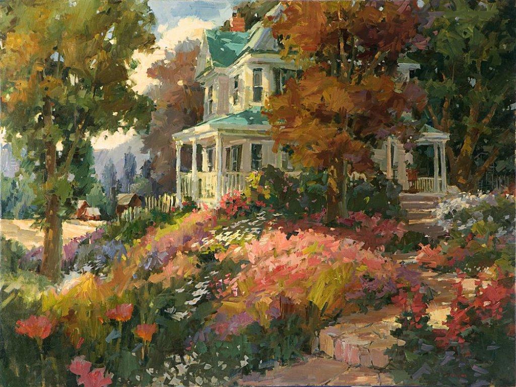 awesome farm house garden wallpaper hd wallpaper 1024x768