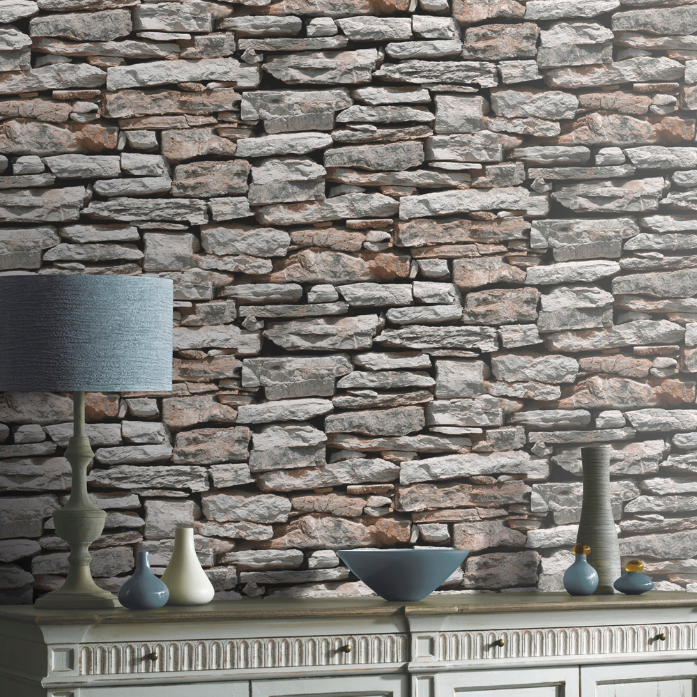 VIP Moroccan Stone Wall Brick Effect Photographic Wallpaper 623000 1000x1000