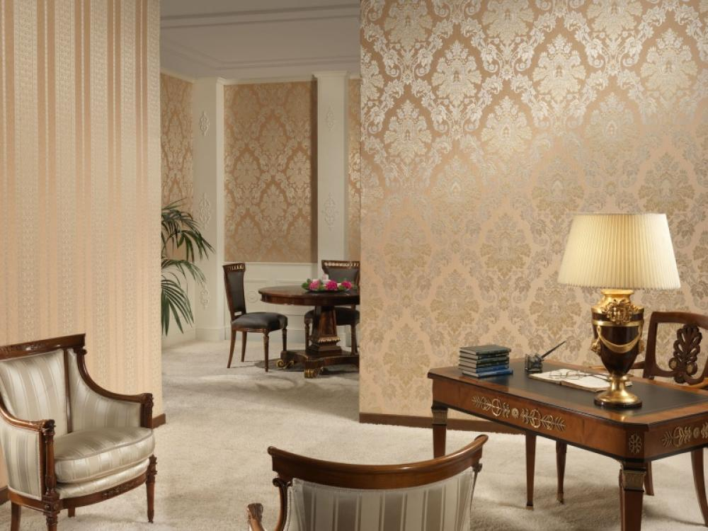 gold color wallpaper in living room OLPOS Design 1000x750