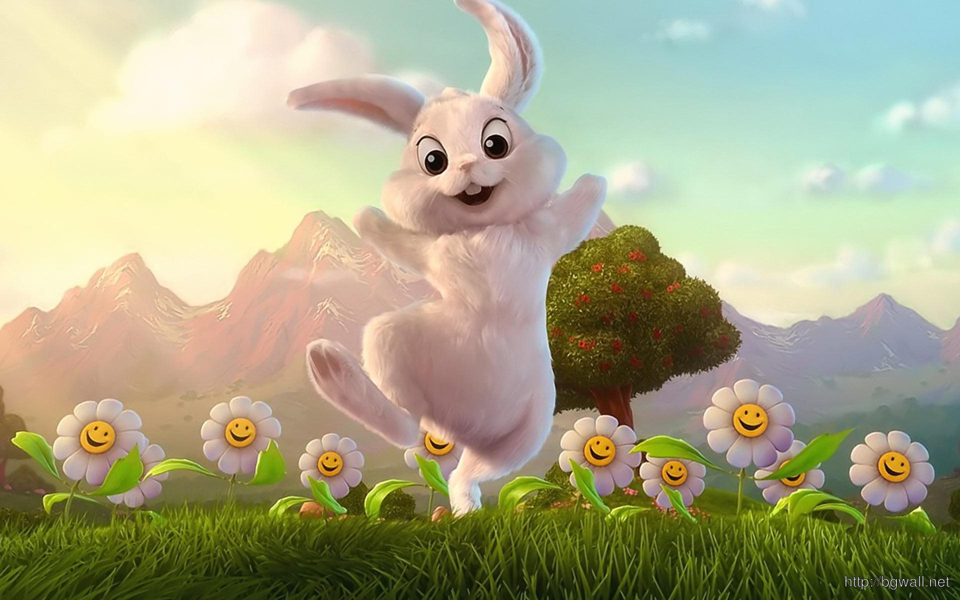 Cute Cartoon Easter Bunny Wallpaper 1920x1200