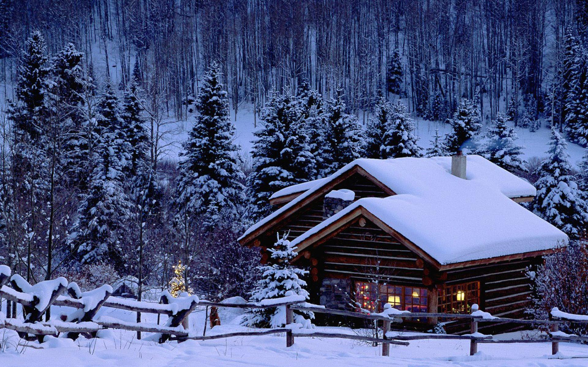 dreamy scene snow wallpaper scenery warmly house 1920x1200