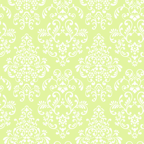 Green Delicate Document Damask Wallpaper   Wall Sticker Outlet 570x570