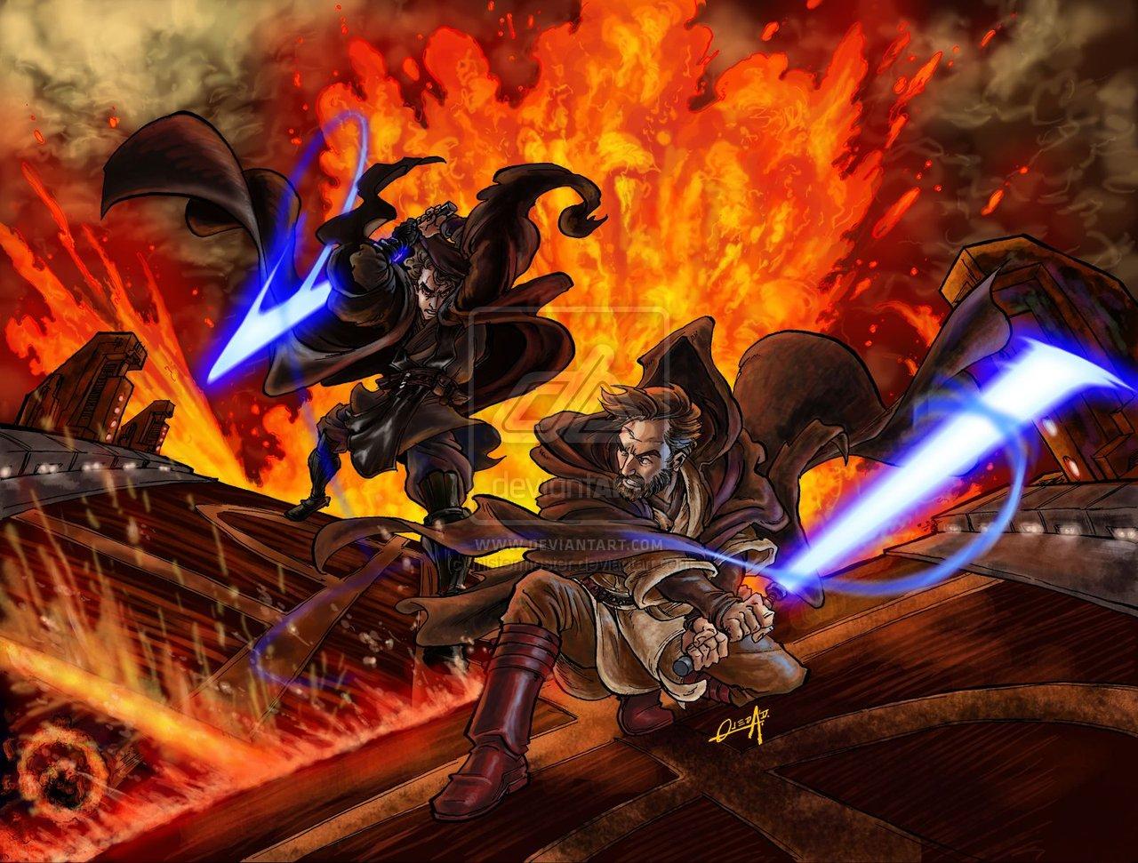 Obi wan vs Anakin by mistermoster 1280x971