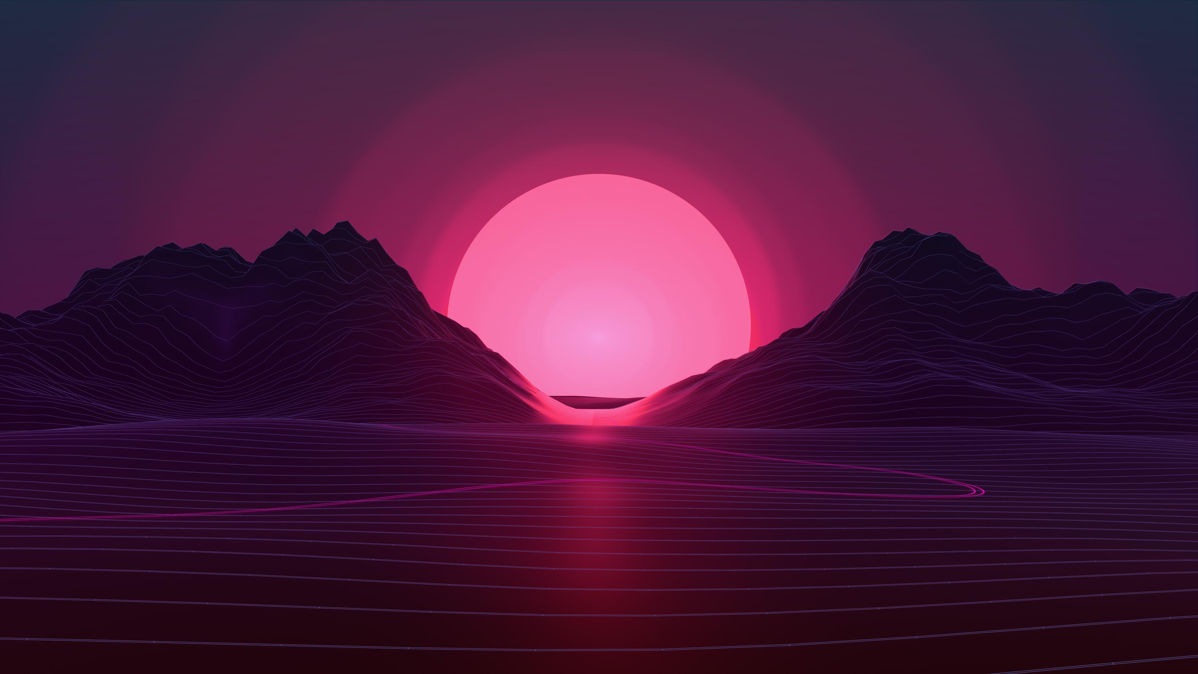 Sun In Retro Wave Mountains Wallpaper HD Artist 4K Wallpapers 3840x2160