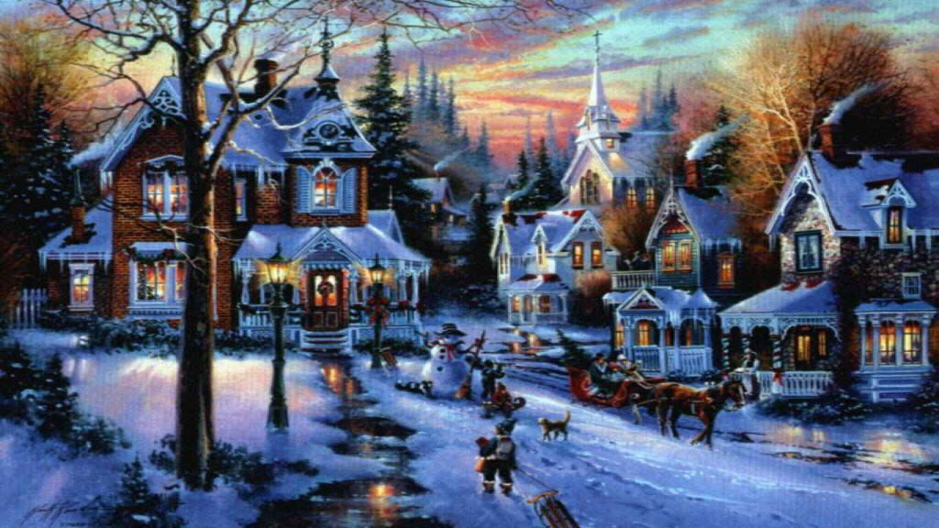 Peaceful Christmas Village Wallpapers 1366x768