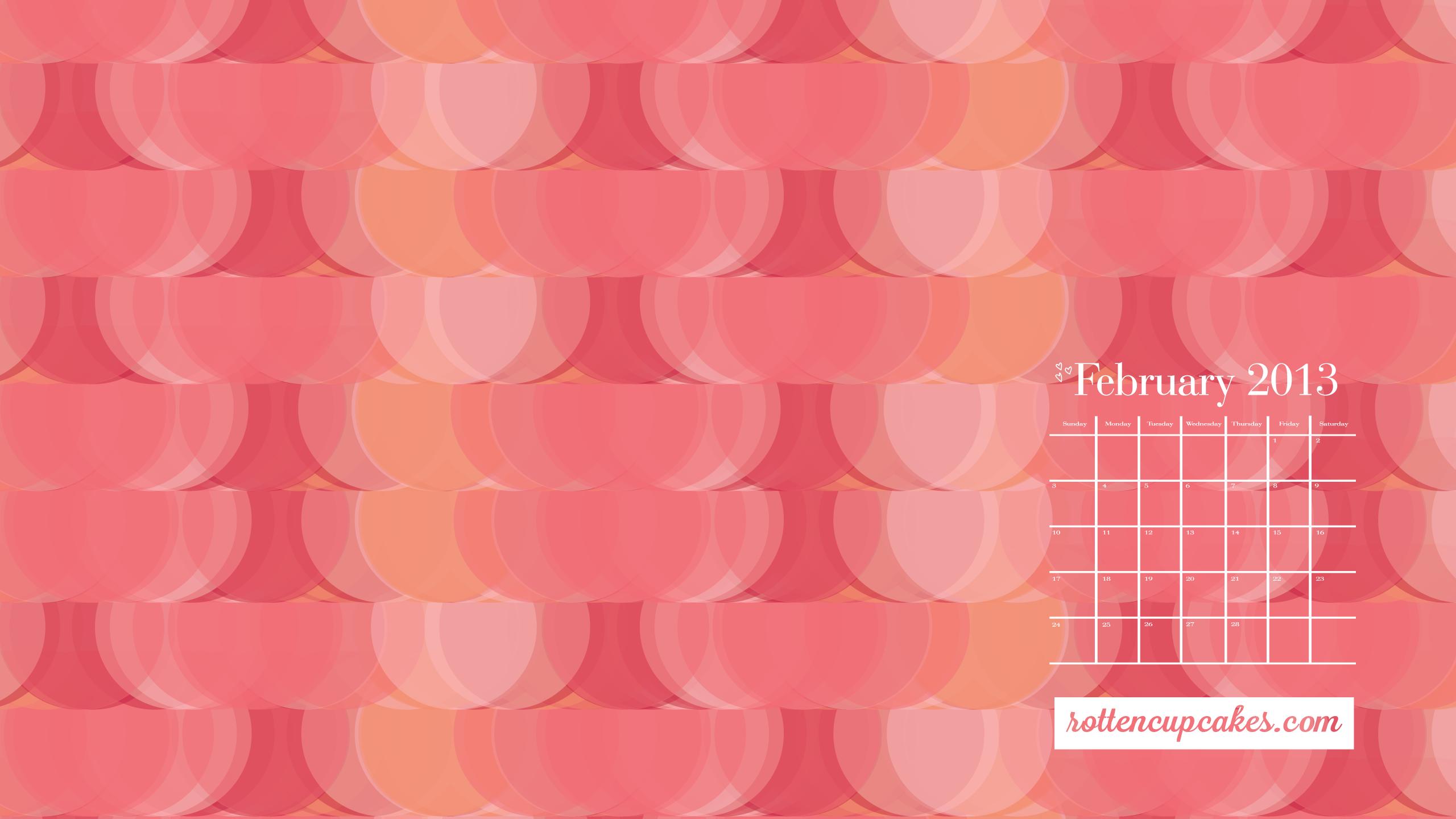 February 2013 calendar desktop iPhone wallpapers   rottencupcakes 2560x1440