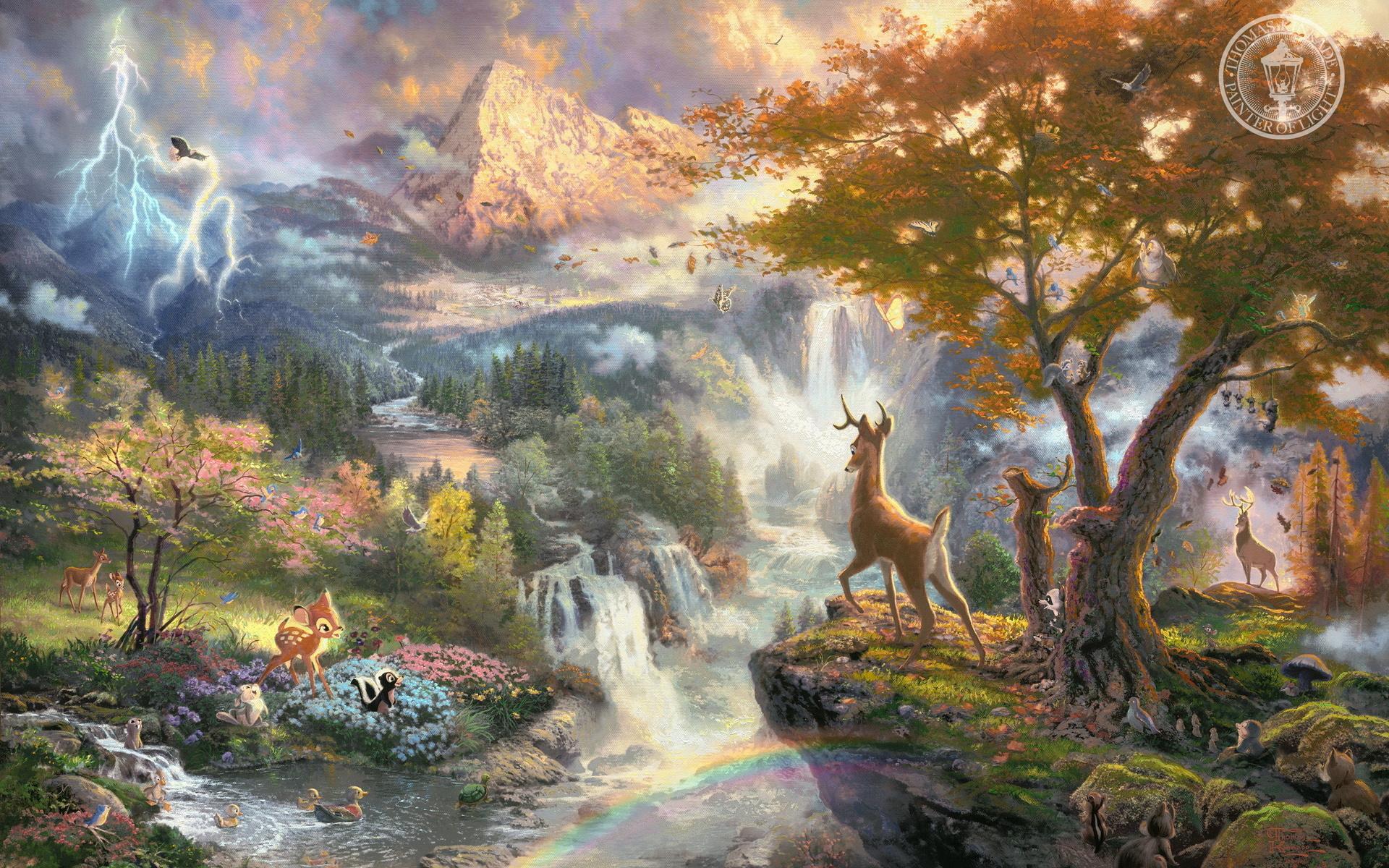 thomas kinkade kinkade disney cartoons movies landscapes nature bambie 1920x1200
