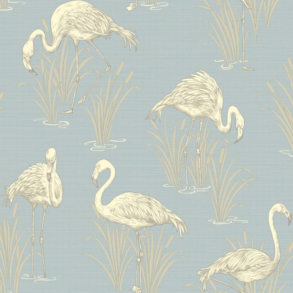 Vintage Lagoon Traditional Oriental Flamingo Textured Wallpaper 252605 1000x1000