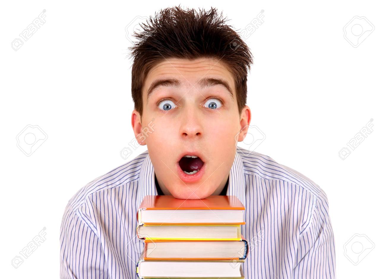 Shocked Student With A Books Isolated On The White Background 1300x941