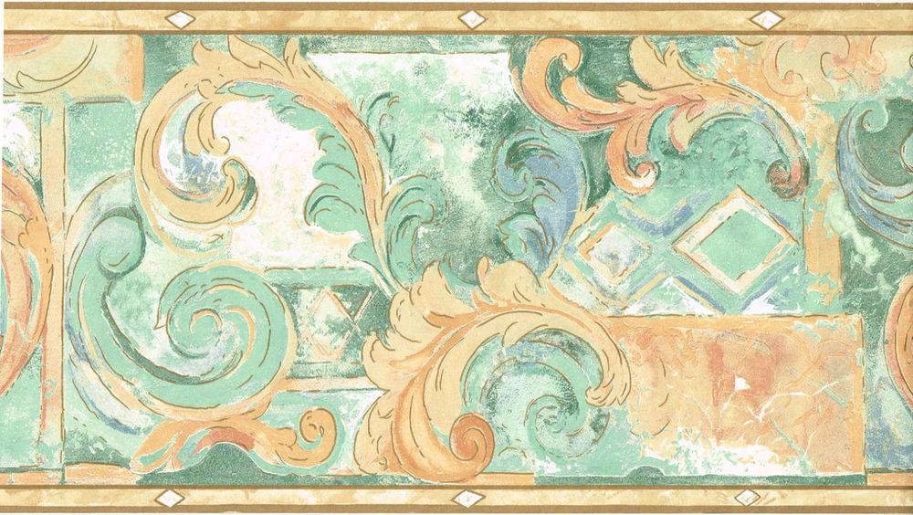Orange Peach Salmon Blue Green Teal Swirl Wallpaper Border eBay 1000x564