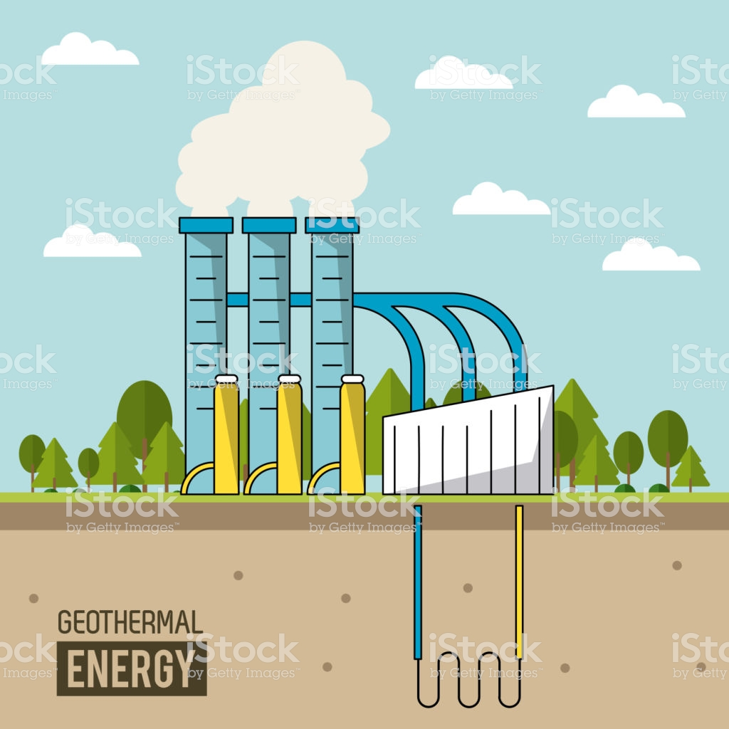 Coloful Background Geothermal Energy Production Plant With Forest 1024x1024