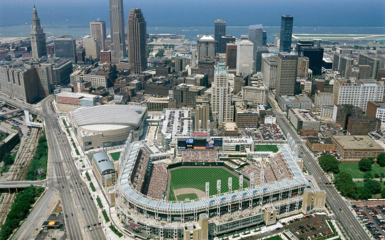 Download Wallpaper Cleveland birds eye view Ohio 1280 x 800 1280x800