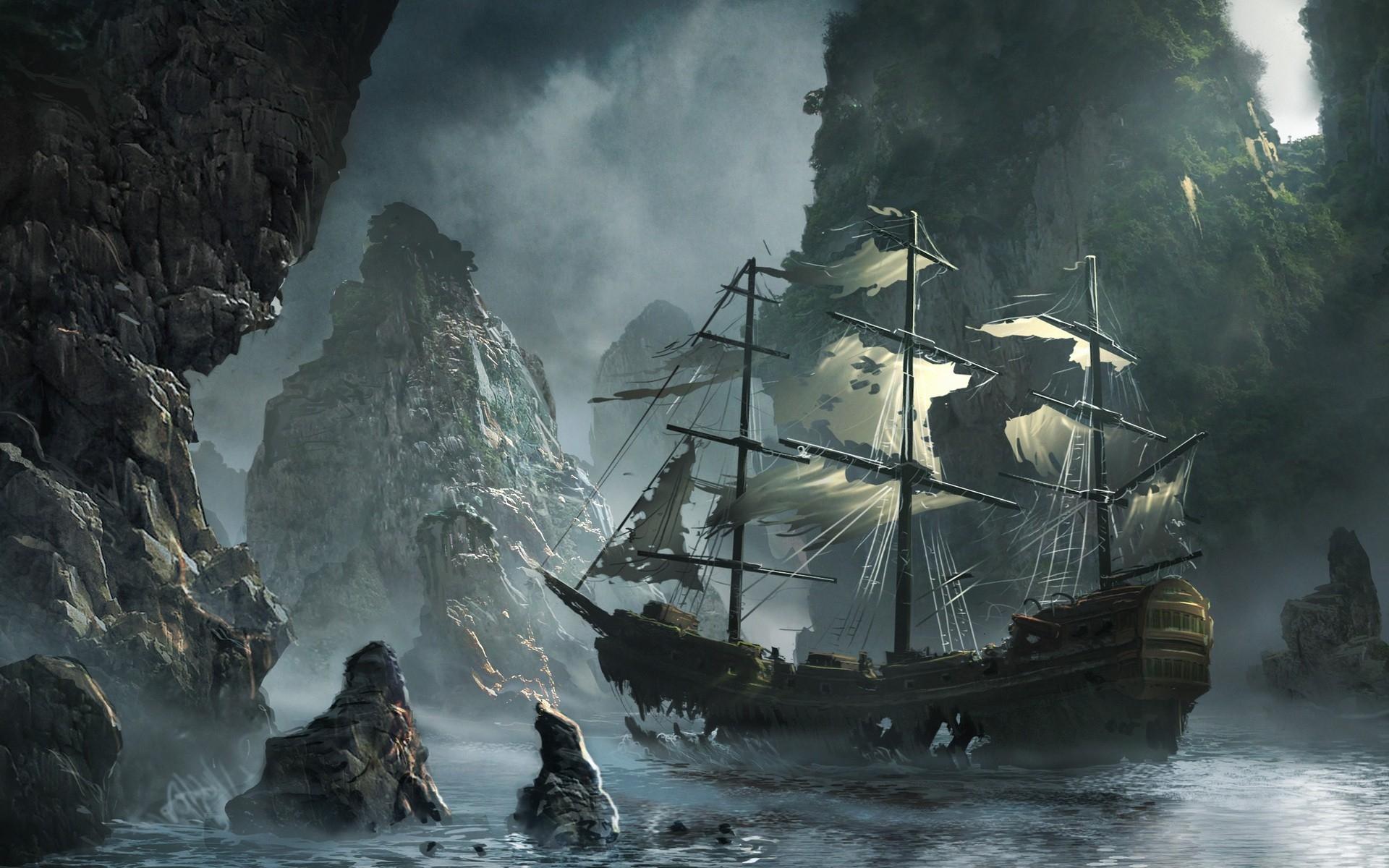 artwork sail ship abandoned bay sails water body wallpaper background 1920x1200