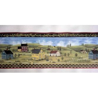 Rolling Borders Primitive Countryside Country Wallpaper Border 500x243