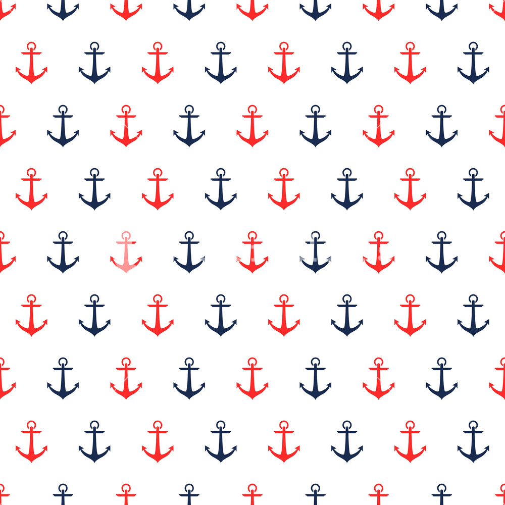 Nautical Pattern Of Red And Blue Anchors On A White Background 1000x1000