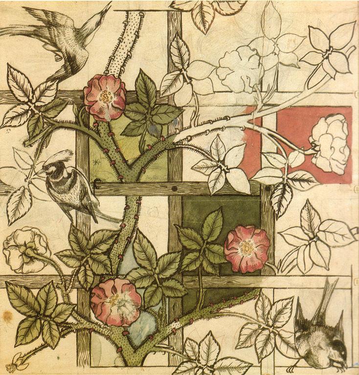 FileWilliam Morris design for Trellis wallpaper 1862jpg   Wikimedia 734x768