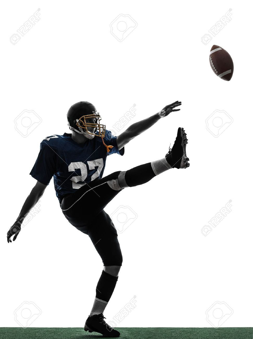 One Caucasian American Football Player Man Kicker Kicking In 971x1300