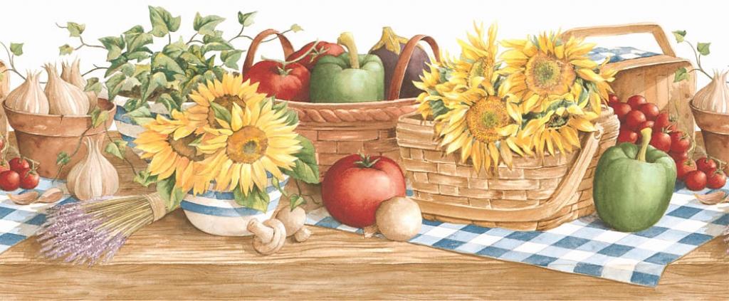 Country sunflower vegetable kitchen wallpaper border 131b35410 1024x423