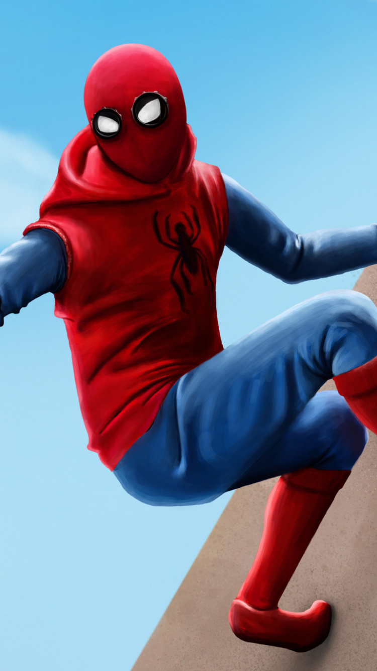 Homecoming Movie Homemade Suit Artwork Wallpaper   Spider Man 750x1334