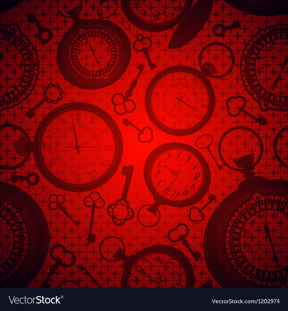 Deep red background with clocks and keys Vector Image 1000x1080