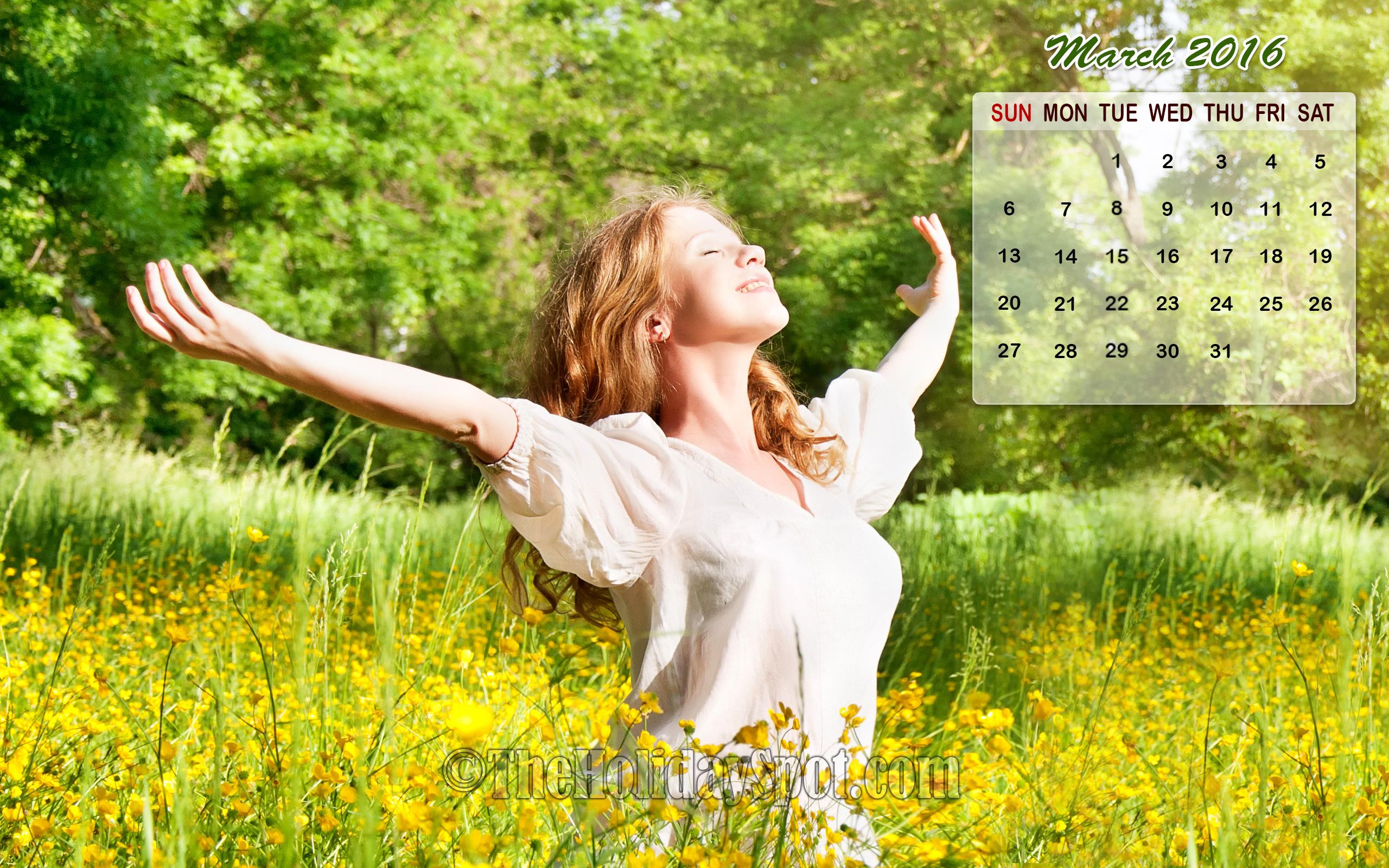 February Calendar Wallpaper 2016   Wallpapers from TheHolidaySpot 2560x1600