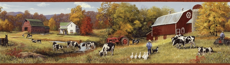 Country Farm Wallpaper Border FFR15031B Dairy Cow Tractor 800x227