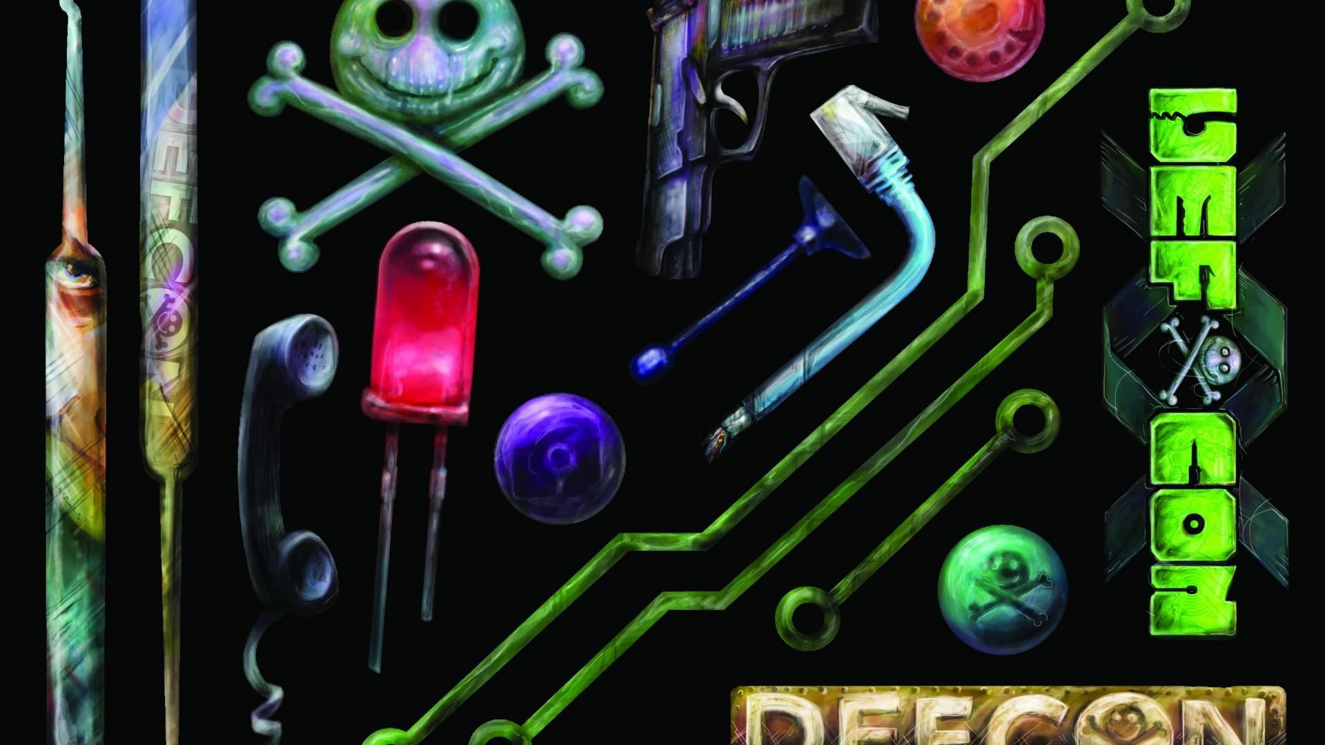 artwork defcon hacking conference stickers wallpaper 30379 1920x1080