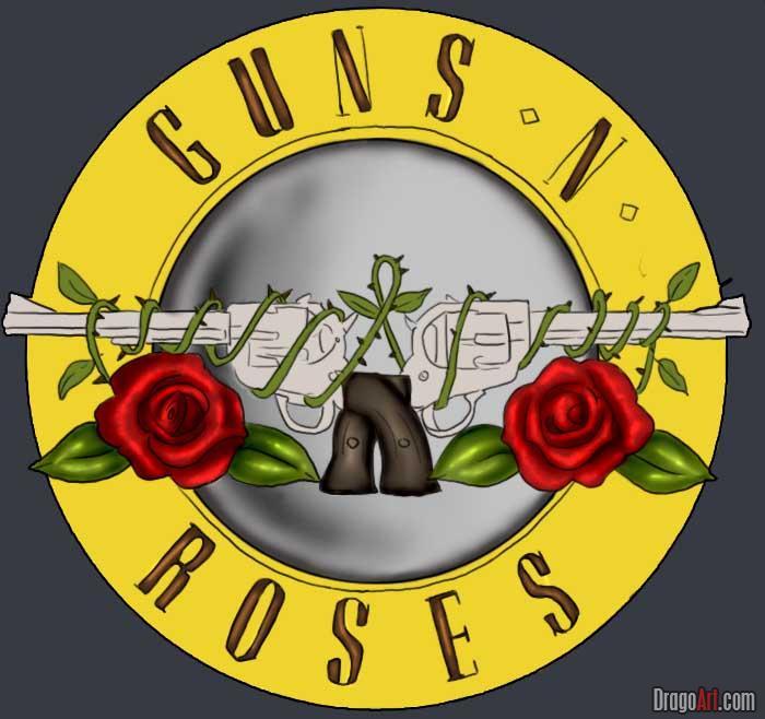guns n roses symbol step by step band logos pop how to draw guns n 700x658