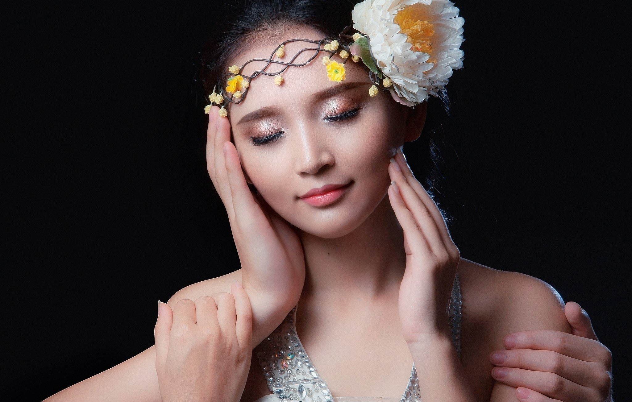 Wallpaper face women model flowers Asian dress fashion 2048x1303