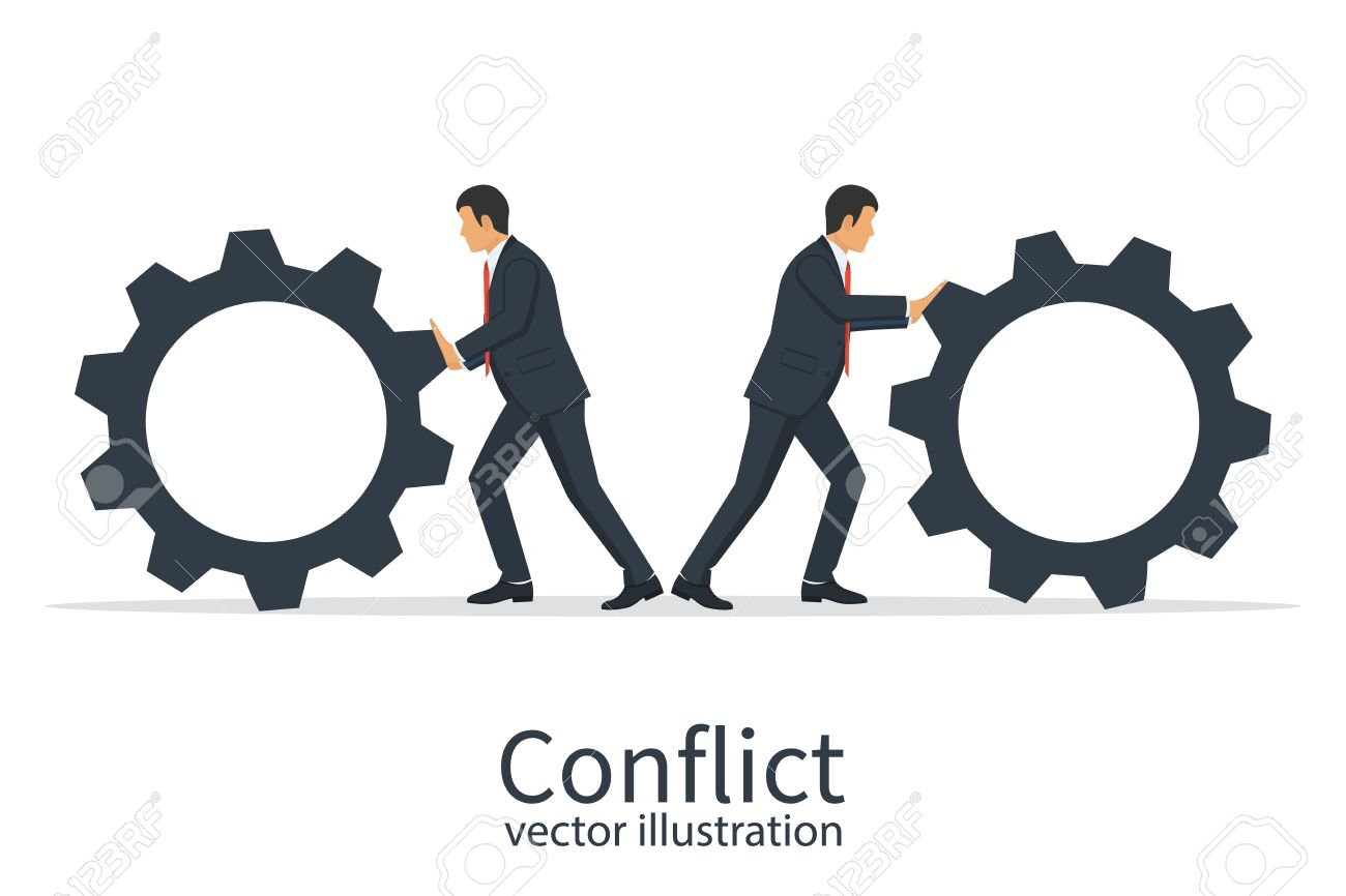 Conflict Cooperation Concept On White Background Vector 1300x866
