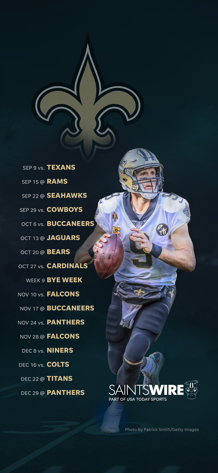 2019 New Orleans Saints schedule Downloadable wallpaper 739x1600