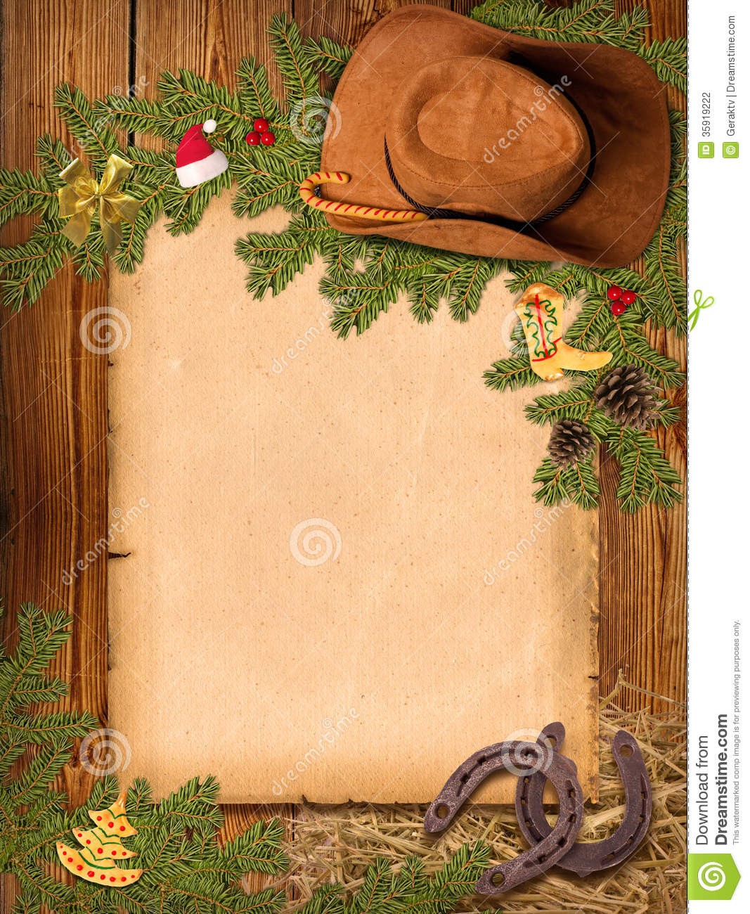 ... western background with cowboy hat and old pa christmas western