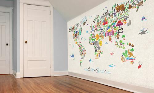 World Map Wallpaper   Buy Online   Maps International 500x304