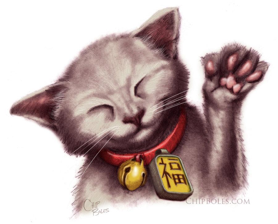 Maneki Neko Beckoning Cat by chipboles 900x727