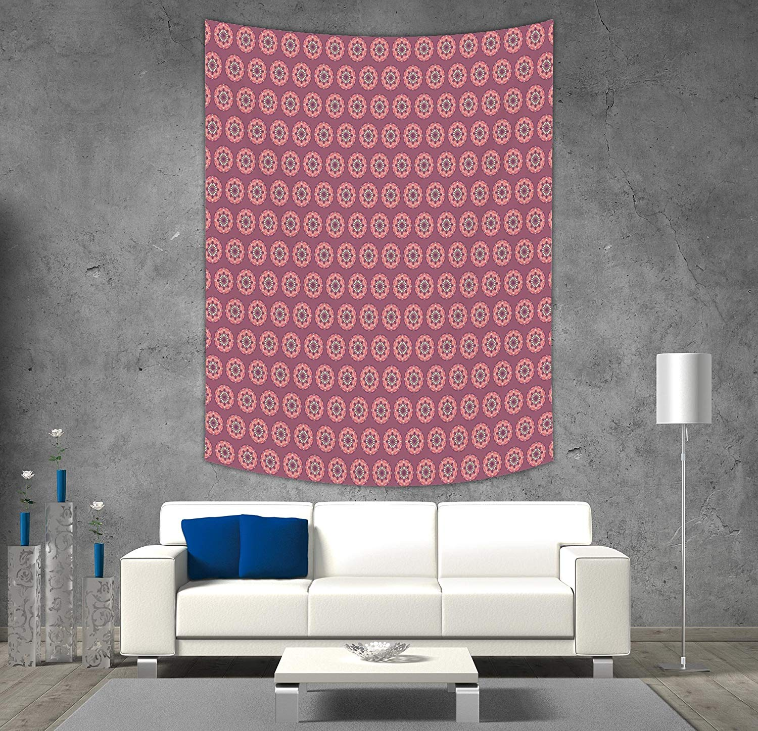 iPrint Polyester Tapestry Wall HangingPeachMandala Design with 1500x1448