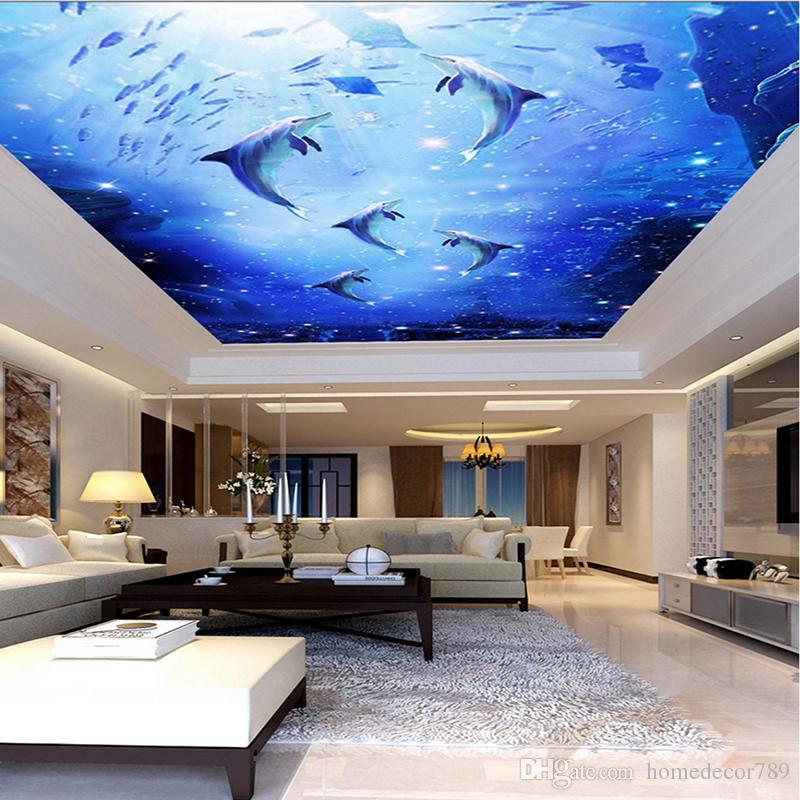Compre Custom 3D Photo Mural Acuarela Azul Mar Mundo Submarino 800x800