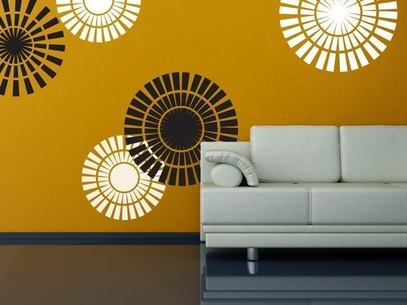 Removable Vinyl Wall Sticker Decal Art   Circle Shapes   Wallpaper 570x427