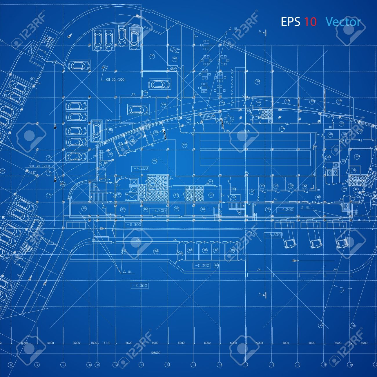 Urban Blueprint Vector Architectural Background Part Of 1300x1300